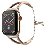 UooMoo Bling Band Compatible with Apple Watch 38mm 40mm Band Series 4/3/2/1, Women Stainless Steel Metal Jewelry Bracelet Bangle Wristband (Color: Rose Gold)
