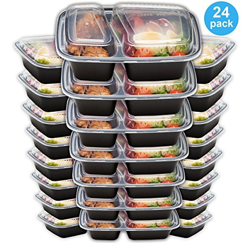 Bento Lunch Box Set - Meal Prep Food Storage - Restaurant Containers - Plastic Foodsaver (24pk, 34oz) (Restaurant Prep Containers compare prices)