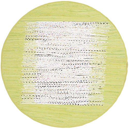 Safavieh Montauk Collection MTK711J Hand Woven Ivory and Citron Cotton Round Area Rug, 6 feet in Diameter (6' Diameter)
