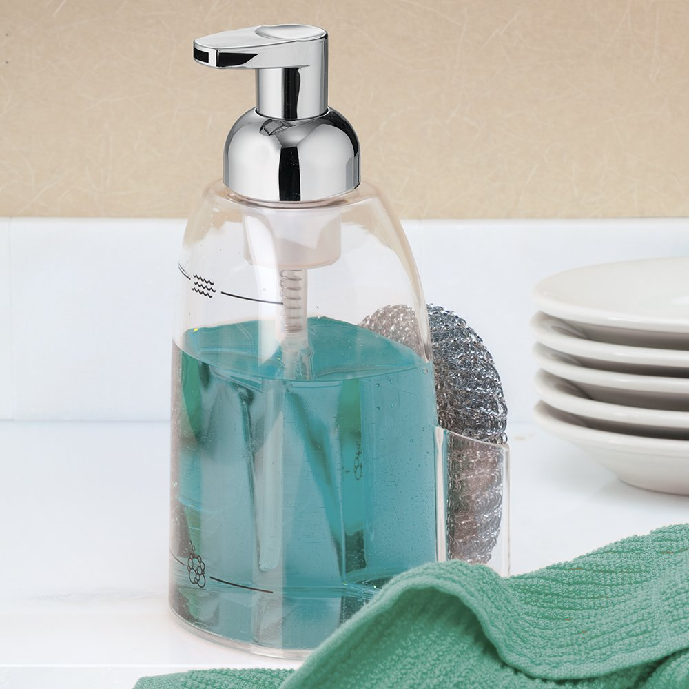 Interdesign foaming soap pump caddy clear chrome new free shipping ebay - Soap pump caddy ...
