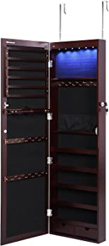 Songmics 6 LEDs 2-Drawers Jewelry Cabinet