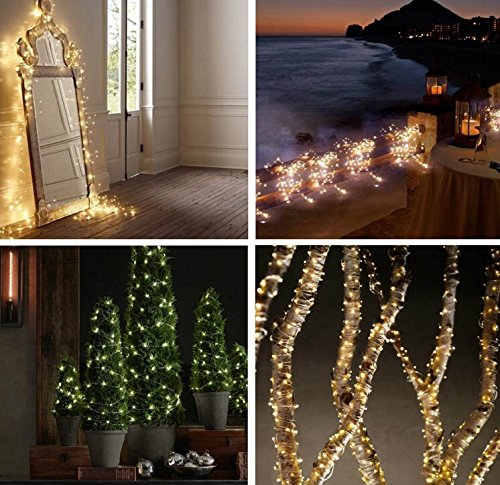H.YOUNG Outdoor Waterproof Solar Power Copper Wire Starry String Light, Warm White Soothing Decor for Christmas, Weddings(33ft 100 LEDs)