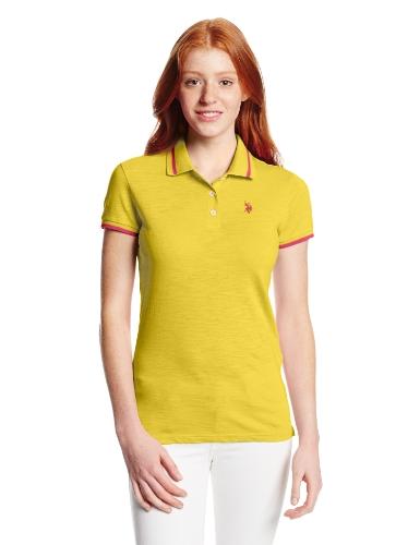 U.S. Polo Assn. Juniors Solid Slub Short Sleeve Polo, Laser Yellow, Medium