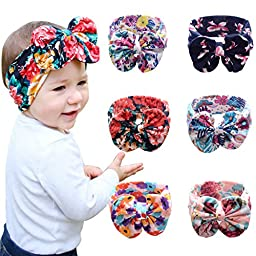 Quest Sweet Baby Girl Multicolor Hair Hoops Headbands,Solid Bunny Ears,Bow Headbands(5-8 Pack)