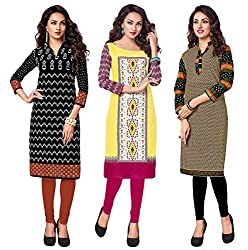 Salwar Studio Women's Pack of 3 Cotton Printed Unstitched Kurti Fabric DT-317-309-306