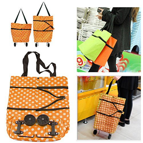 Shopping Bag Oenbopo Large Lightweight Shopping Trolley Foldable Wheel Folding Luggage Bag Cart Tote (Orange)