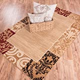 "Plain Border Rug Damask Warm Colors with Brush Effect Soft Area Rug 8x10 (710"" x 910"")"