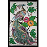 Hand Made Batik Wall Hanging - Peacock On Tree of Flowers (23 inches by 35 inches)by Nethara