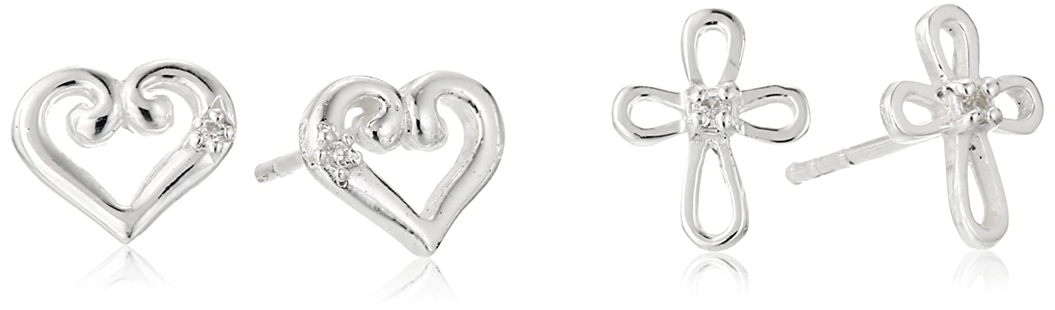 Kate & Lucy Girls' Sterling Silver Heart and Cross Earrings Set кардиган lucy