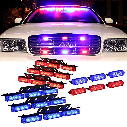 DT MOTO™ Blue Red 54X LED Police Vehicle Dash Deck Grille Strobe Warning Lights - 1 set (Led Dash Lights Red Blue compare prices)
