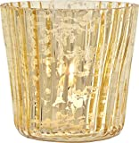 Luna Bazaar Candle Holder (3-Inch, Vertical Motif, Gold Mercury Glass) - For Home Decor and Wedding Decorations - For Use with Tea Light Candles