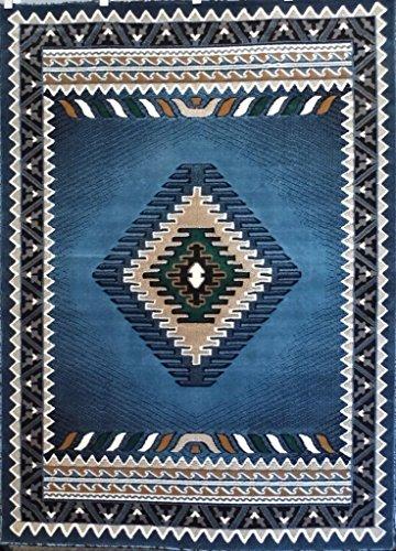 Southwest Native American Area Rug Blue Design #D143 (5ft.x7ft.)