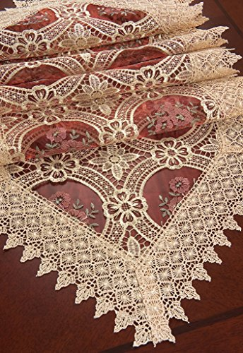 Simhomsen burgundy lace table runner and scarves 16 by 102 for 102 inch table runners