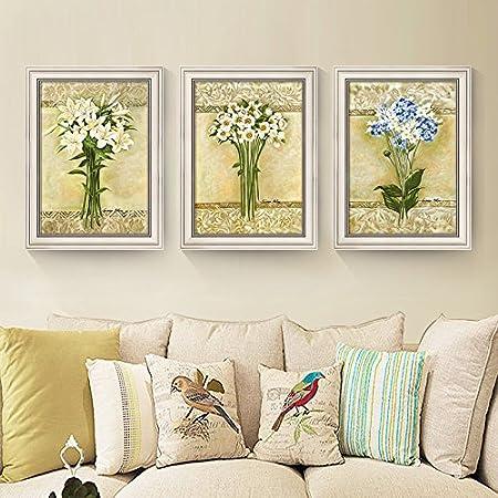 ZZZSYZXL Salón Comedor Pinturas decorativas 3 piezas Conjunto paredes del dormitorio Sofá Mural Antecedentes , white , 43*60cm