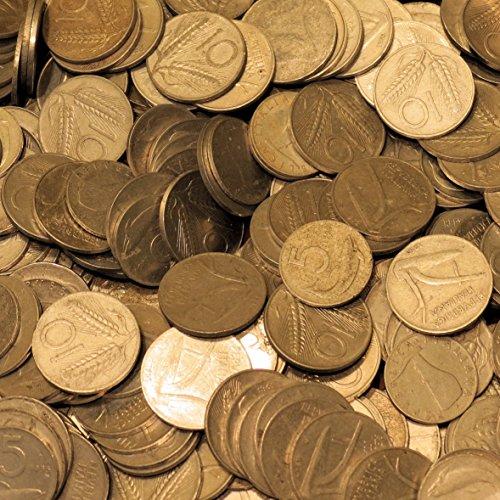 un-etto-di-monete-italiane-da-5-lire-e-10-lire-circolate-vari-anni-a-peso-lotto-stock-collezione-acc
