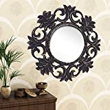 Home Sparkle Engineered Wood Wall Mirror (60 Cm X 1.5 Cm X 60 Cm, Golden Black, Sh1125)
