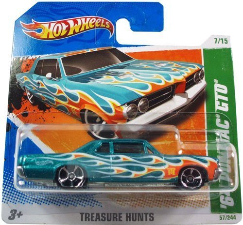 '64 PONTIAC GTO (Metalflake Teal) * 2010-2011 Hot Wheels #57/244 Treasure Hunts 7/15 1:64-scale car on SHORT CARD (Hot Wheels T Hunt compare prices)