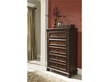 Brennville Reddish Brown Five Drawer Chest