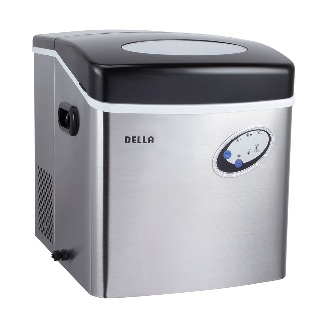 DELLA© 48-Pound Daily Capacity Counter Top Ice Maker - Stainless Steel - 4.5-Liter Water Reservoir - 3 Cube Sizes - Yield 48 Pounds of Ice Daily