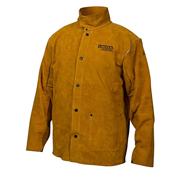Lincoln Electric Brown X-Large Flame-Resistant Heavy Duty Leather Welding Jacket (Color: Brown, Tamaño: X-Large)