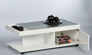 """Couchtisch """"STELLA"""" Wohnzimmertisch Beistelltisch Tisch in Weiss Matt Abs. Parsolglas Grau"""