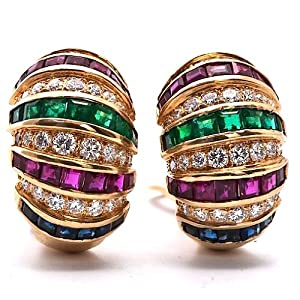 Estate 11.00cts Diamond Sapphire Ruby Emerald Gold Earrings