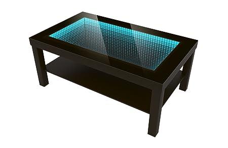 CRAVOG Couchtisch Glastisch LED 3D Tiefeneffekt Farbig Modern RGB Fernbedienung 90x55 cm