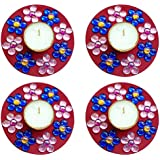 Unique Arts & Interiors. Set Of 4 Multi Round TL119 Tea Light Candle Diya Holder