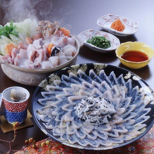 下関とらふぐ刺身・ふぐ鍋料理フルセット3~4人前 盛り付け済30cm尺皿 瞬間冷凍 (検査済み)下関直送