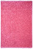 "Pink Shag Area Rug 3'3""x4'8"" Single Solid Color Maxy Home Collection BEL2757"
