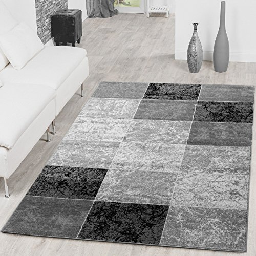 Teppich-Preiswert-Karo-Design-Modern-Wohnzimmerteppich-Grau-Schwarz-Top-Preis-Gre160x220-cm