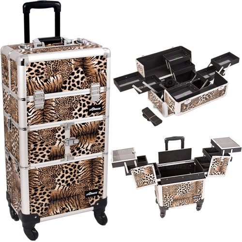14.5 Inch Faux Leopard Print Interchangeable Series Cosmetic Train Case Beauty Supply Orgainzer Makup Travel Tote With Four 360 Degree Rotating Wheels And Telescoping Tow Handle front-890264