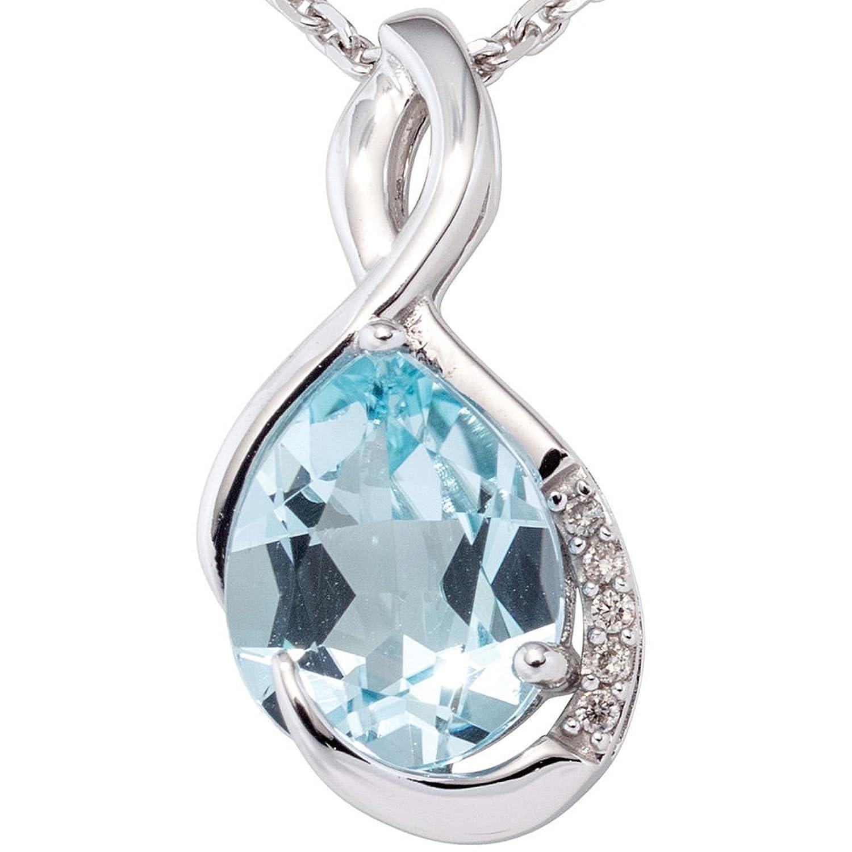Anhänger mit Blautopas & 5 Diamanten Brillanten 585 Gold Weißgold Damen bestellen