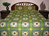 3Pcs Green Cotton Bedspread King Size Throw Bed Linen Coverlet