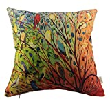HOSL P68 Cotton Linen Pillow Cover Decor Throw Pillow Case Cushion Cover Colorful Birds & Tree Square 18