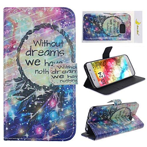 Moon mood® Wallet Pelle PU Custodia Per Samsung S6 Edge Stand Flip Case Cover con Card Solt e Pittura Colorata Design (Black Dreamcatcher Colourful Arrow)