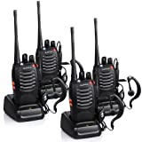 Walkie Talkies Rechargeable Long Range, Jason Two Way Radios with Earpiece UHF 400-470MHz 16 Channels Li-ion Battery and Charger(Pack of 4)