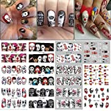 Halloween Gothic Nail Art Decals - 250+ Decals - Day of the dead killer clown nightmare before Christmas black widow zombie Nail Wrap