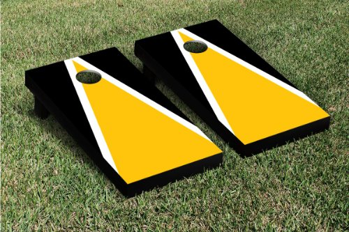 Yellow Gold & Black Triangle Cornhole Boards Game Set by Victory Tailgate (24x48 Heavy Duty)