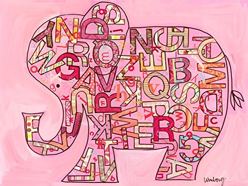 Oopsy Daisy Pink Alphabet Elephant Stretched Canvas Wall Art by The Winborg Sisters, 24 by 18-Inch