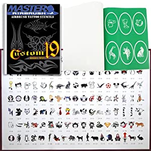 Master Airbrush Brand Airbrush Tattoo Stencils Set Book #19 Reuseable Tattoo Template Set, Book Contains 120 Unique Stencil Designs, All Patterns Come on High Quality Vinyl Sheets with a Self Adhesive Backing.