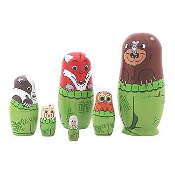 Veewon 6pcs Nesting Poupées Animaux Cute Lovely Bear Family Matryoshka Poupée Russe Cadeaux Enfants Handmade Cadeaux
