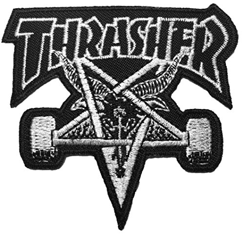 The THRASHER Skateboard Patch Music Band Logo Jacket Vest shirt hat blanket backpack T shirt Patches Embroidered Appliques Symbol Badge Cloth Sign Costume Gift (Kc Company Smash compare prices)