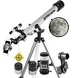Landove Telescope, 60mm AZ Refractor Telescope with 10mm Smartphone Digiscoping Adapter - Observer 60mm AZ Refractor & Travel Scope Starter Kit (60mm AZ Refractor Telescope)