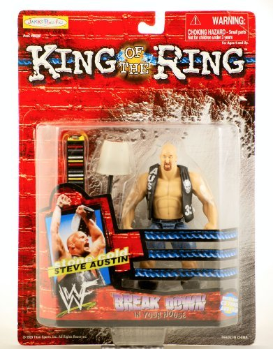 WWF / WWE - 1999 - King of the Ring - Break Down in your House - Stone Cold Steve Austin Action Figure - w/ Breakaway CD Tower & Lamp - New - Limited Edition - Collectible