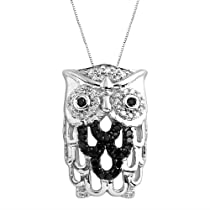 Sterling Silver Black and White Diamond Owl Pendant Necklace (1/5 cttw, H-I Color, I2 Clarity), 18