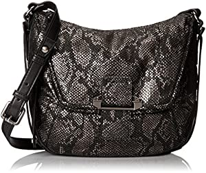Kooba Handbags Gary E Cross Body,Gun Metal Python,One Size