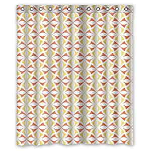 Graceful Red And Yellow Bowknot Pattern In White Shower Curtain 60 X72 New