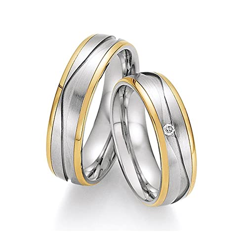 WEDDING RINGS / FRIENDSHIP Rings-Stainless STEEL / 585 GOLD Top BRILLANT