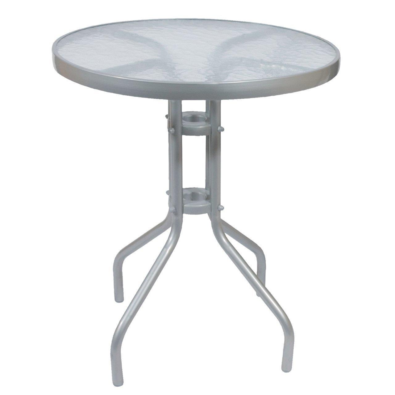 Bistrotisch Gartentisch Metall silbernes Metall-Gestell mit Glasplatte Ø60x70cm